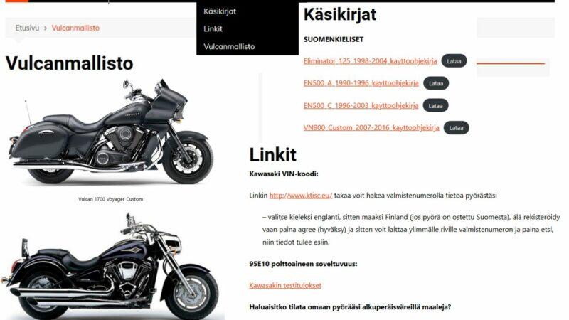 Vulcanriders Finlandin verkkosivujen valikkoja päivitetty